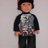 18 inch boy doll clothes, crochet beanie hat, graphic print baseball tee, dark denim wide leg jeans, american girl, maplelea