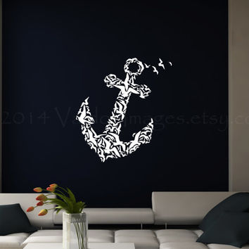 Anchor with birds wall decal, wall sticker, nautical decal, wall graphic , vinyl decal, sticker, vinyl graphic wall decal