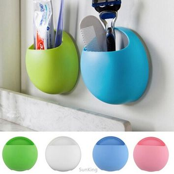 2016 Ladies Women Fashion Newest Toothbrush Holder Bathroom Kitchen Family Toothbrush Suction Cups Holder Wall Stand Hook Cups O