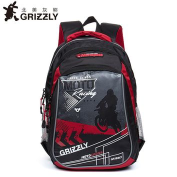 GRIZZLY Children school bags Orthopedic Waterproof school backpacks for boys printing kids backpack mochilas Infantil Grade 1/4