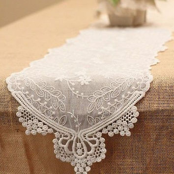 Lace Table Runners Table Dining Wedding Decor, 12-inch, 5-yard