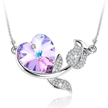 "[Valentines Day Gift] Angelady"" Rose Romance"" Love Heart Pendant Necklace Crystal from Swarovski,Gifts for Wife Girlfriend Love"