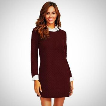 Contrast Collar And Cuff Textured 2 In 1 Mini Dress
