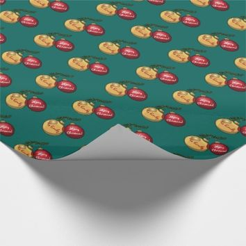 Personalised Text Christmas Tree Ornaments Cartoon Wrapping Paper