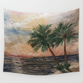 Beach Side  Oil on Canvas Wall Tapestry by Annette Forlenza