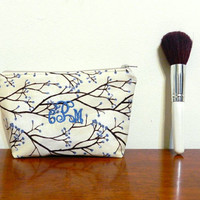 Beige with Rustic Branches and Blue Buds Personalized/Monogrammed Mini Makeup Cosmetics Toiletries Bag Pouch Holder with Beige Zipper