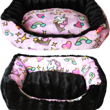 Pink Unicorn Reversible Puppy Dog Bed