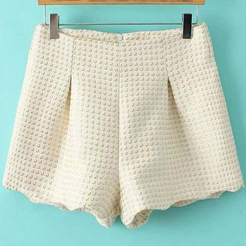 Beige Quilted Shorts