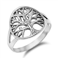 925 Sterling Silver Tree of Life Wiccan Ring 12MM