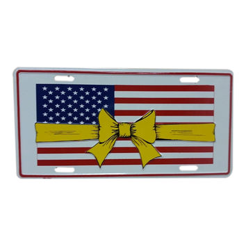 Smart Blonde LP-134 American Flag Yellow Ribbon Novelty Metal License Plate Tag Sign
