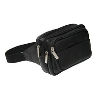 Royce Leather Vaquetta Multi-Compartment Fanny Pack (Black)