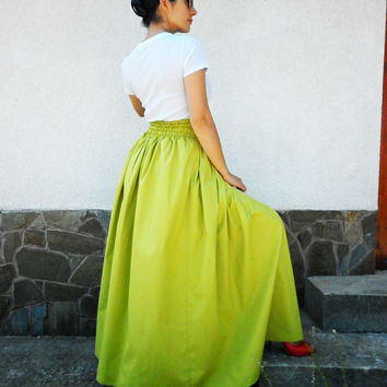 Green Maxi Long Skirt / Cotton Skirt / Party Skirt / Extravagant Summer Skirt / Everyday High Waist Skirt by moShic S001