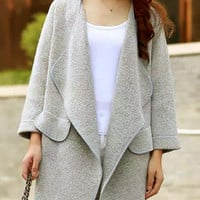 Gray Long Sleeve Pocket Knit Coat