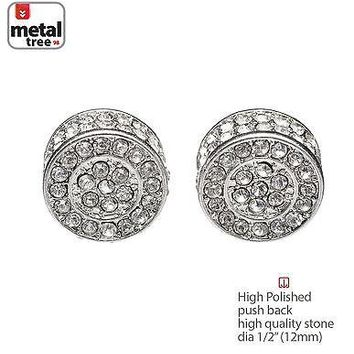 Jewelry Kay style Men's Hip Hop Bling Silver XL Flat Round Micro Pave CZ Stud Earrings TE 529 S