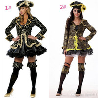 New Pirate Cosplay Women Role Play Classic Halloween The Queen Costumes Set Humor Plays Women Pirate Costumes & Cosplay Apparel uniform A42