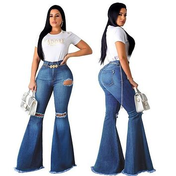 Lady Casual Bell-Bottoms Flare Pant
