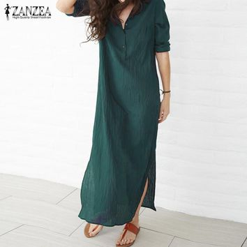 ZANZEA Women Dress 2018 Autumn Casual Loose Maxi Long Party Dresses Sexy V Neck Long Sleeve Split Hem Cotton Vestidos Plus Size