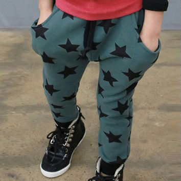 Toddler Kids Boys Cotton Pants Star Pattern Harem Trousers S Pants For Boys 6M-4Y Bottoms  SM6