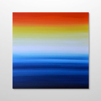 Original 24 x 24 Abstract Ocean Sunrise Seascape Painting - Blue, Yellow, Orange, Red Acrylic Canvas Wall Art Home Decor - Large Square