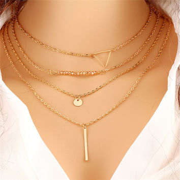 Multi layer Geometric Designed Gold Silver Bar Stick Triangle Chain Choker Necklace Pendant Necklaces