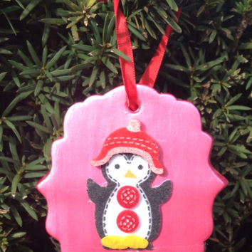 Personalized Pink Penguin Ornament