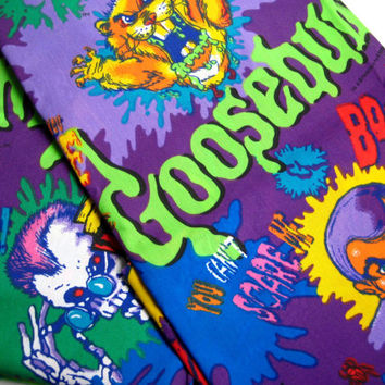 Vintage Goosebumps TWIN Bed Size Flat Sheet Fabric Panel Boy Kids Bedding R.L. Stine Craft UNUSED