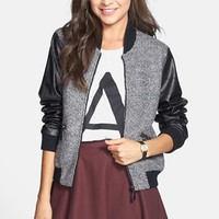Cecico Faux Leather Sleeve Boucle Bomber Jacket (Juniors)