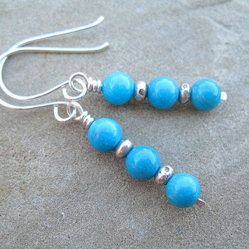 Stack Turquoise Earrings Sterling Silver Jewelry Genuine Turquoise Gemstone Earrings Blue