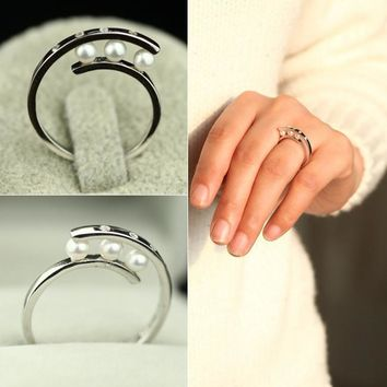 New Arrival Shiny Gift Stylish Jewelry Pearls 925 Silver Simple Design Accessory Ring [7204741063]