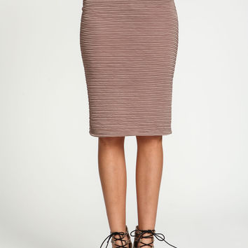 Ruched Knit Midi Skirt
