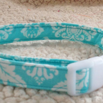 Aqua & White Damask Collar for Girl Dogs and Cats