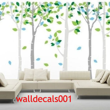 Birch tree Wall Decals Wall stickers Kids decals baby decal nursery decal nature room decal wall decor- Birds in Birch Forest 6birch trees