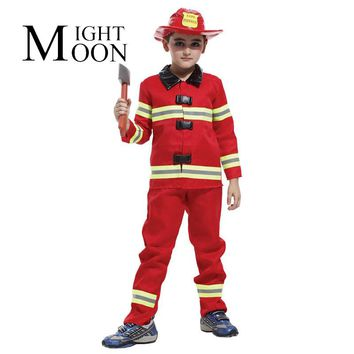 MOONIGHT Cosplay Costume Fireman Full Sets Costumes For Kids Firefighter Clothes Halloween Party Supply Truckman Costume Boy