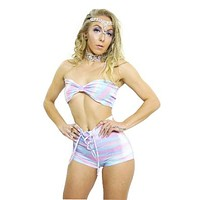 Rainbowflow Shorts Lace Mi Up Set