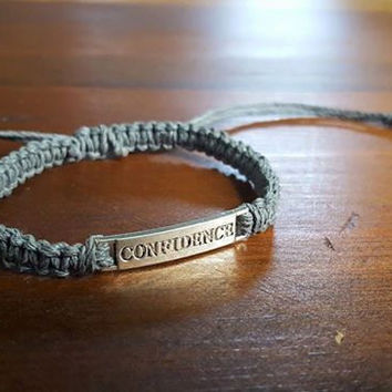Confidence Grey Adjustable Hemp Bracelet Motivational Jewelry