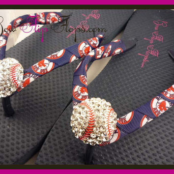 Red Sox Ribbon Baseball Flip Flops with Boston Ribbon Bling Rhinestone Baseball