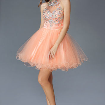 G2130 High Neck Jeweled Homecoming Cocktail Dress