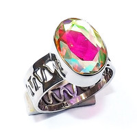 Rainbow Mystic Ring -Sterling Silver Ring -  Fine Silver Ring - Solid Silver Ring - Filigree Ring - Handmade Ring - Bezel Set Ring
