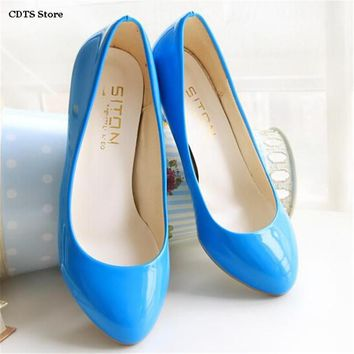 CDTS Plus size:34-45 46 47 Spring high-heeled japanned leather princess colorful shoes women Round Toe Thin Heels wedding pumps