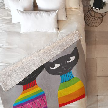 Anderson Design Group Rainbow Cats Fleece Throw Blanket