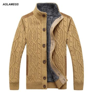Aolamegs Men Sweater Fashion Autumn Winter Wool Cardigan Men's Casual Thick Warm Sweater Male 2016 Knitting Sweter Hombre M-3XL