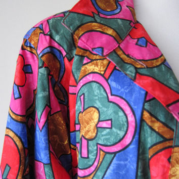 80s Jewel Tone Stained Glass Cotton Blazer Bomber Jacket, Quirky Geometric Renaissance Hipster Fashion