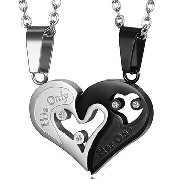 LOYAL 2pcs His Only Her One Stainless Steel His and Hers Couple Necklace Love Heart CZ Puzzle Matching