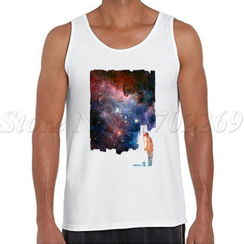 Repainted fashion design men tank tops sleeveless funny galaxy printed Vest casual bodybuilding clothing cool singlet