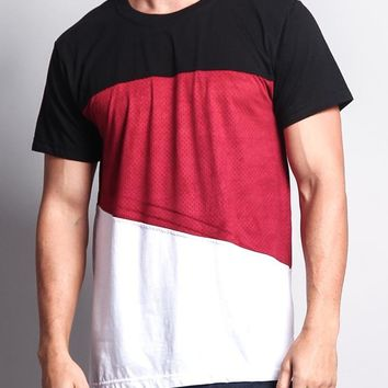 Colorblock Poly Suede Mesh T-Shirt