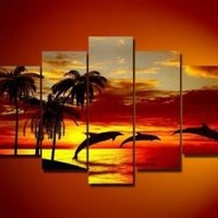 5 Pics Hawaii Sunset Beach Dolphin Palm Tree Modern Art 100% Hand Painted Oil Painting on Canvas Wall Art Deco Home Decoration (Unstretch No Frame) Gp01