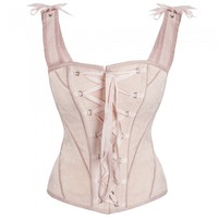 Vintage Inspired Overbust with Angled Panels and Shoulder Straps - Georgian Pink