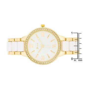 White And Gold Metal Crystal Watch