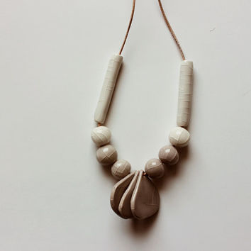 Handmade ceramic gray and white strand necklace - beadwork on thin leather cord