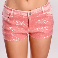Pink Front Sequined Shorts